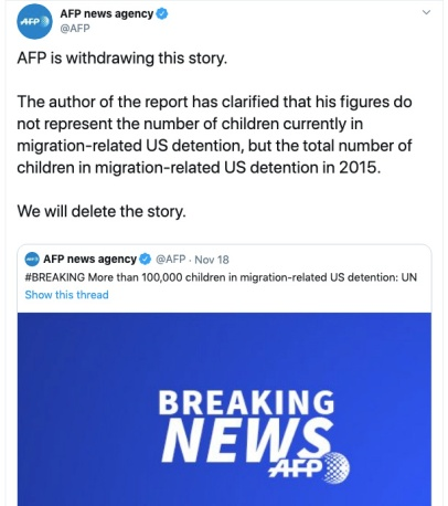 AFP deleted a story incorrectly accusing the Trump administration of detaining over 100,000 migrant children